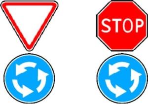 Знаки дорожного движения регулирующие движение на перекрестке.