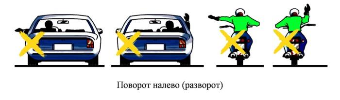 такой сигнал рукой подаваемый мотоциклистом информирует вас что он собирается повернуть налево или сделать разворот.
