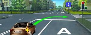 Если полоса для маршрутных транспортных средств отделена сплошной линией разметки, то при повороте водитель ТС должен поворачивать без перестроения на полосу МТС