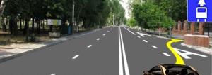 При съезде с дороги на прилегающую территорию водитель ТС должен сначала перестроится на полосу маршрутных транспортных средств, а затем повернуть на прилегающую территорию.