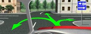 В данной ситуации, при установленном знаке 5.13.1 вам разрешено движение прямо, сделать разворот или повернуть направо. Данный знак указывает, что вы выезжаете на перекресток с дорогой одностороннего движения в правую сторону и полосой для маршрутных транспортных средств в левую сторону и тем самым запрещает движение в обратное направление по данным полосам.