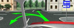 В данной ситуации, при установленном знаке 5.13.2 вам разрешено движение прямо, сделать разворот или повернуть налево. Данный знак указывает, что вы выезжаете на перекресток с дорогой одностороннего движения в левую сторону и полосой для маршрутных транспортных средств в правую сторону и тем самым запрещает движение в обратное направление по данным полосам.