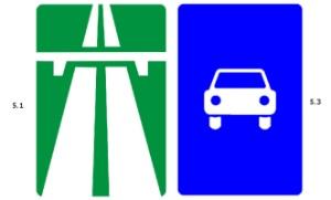 Дорожные знаки оповещающие о выезде на автомагистраль и автодорогу.