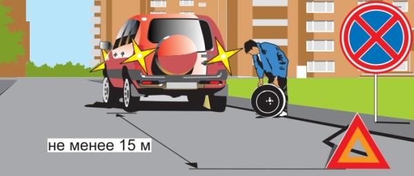Правила выставления знака аварийная остановка в населенных пунктах.