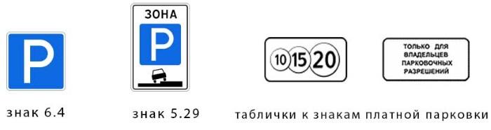 Знаки обозначающие платную парковку