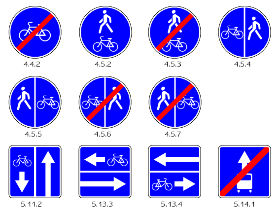 Знаки указывающие на наличии дорожек для велосипедов